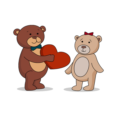 wooing: Couple lovers of teddy bears with heart in hands. Bear gives a red heart female bears. Bear sheepishly from the proposal. Happy Valentines Day. Vector illustration EPS 10 Illustration
