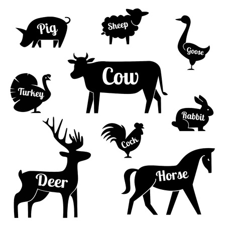 horse cock: Set of butchery logotype templates. Cartoon farm animals with sample text. Retro styled toy farm animals black silhouettes collection for meat stores, groceries, packaging and advertising. Vector butcher block design. EPS 10