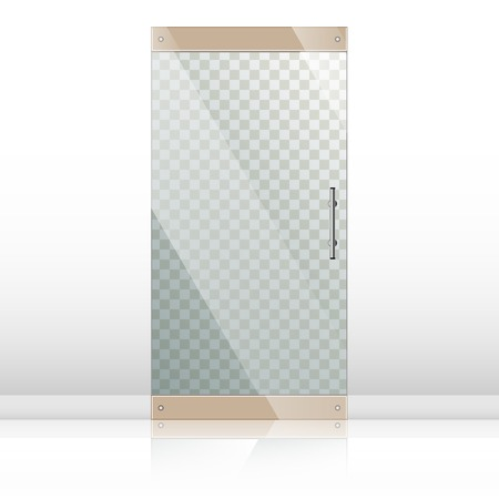 glass doors: Vector transparent glass doors with mirror image in steel frame isolated on white wall. Architectural interior symbol. Front door EPS10