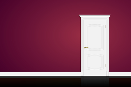 white door: Closed white door on purple wall background. Vector EPS10 Illustration