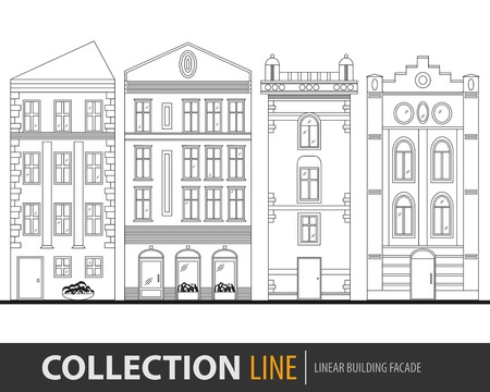 main street: Beautiful detailed linear cityscape collection with townhouses. Small town street with victorian building facades. Template for web, graphic, game and motion design. Vector illustration EPS10