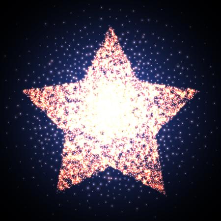 star sky: Retro star glowing light banner. Award shiny cinema logo. Vector illustration EPS10