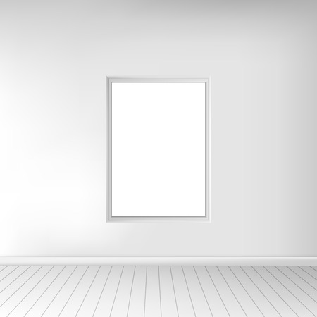 spacious: A spacious empty white room with a picture on the wall. Monochrome interior. In use for your design project. Vector illustration EPS10