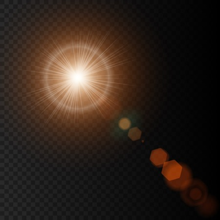 Summer sun with realistic lens flare lights and glow on black background. Vector illustration eps10