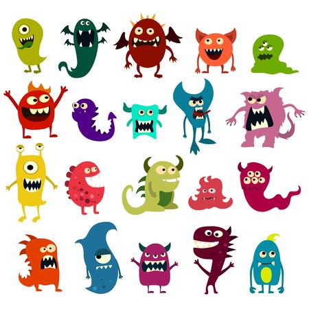 cuernos: monstruos de la historieta fijados. juguete colorido monstruo lindo. Vectoriales EPS 10