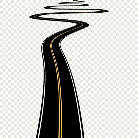 curved road: Abstract curved asphalt road isolated on transparent background. Vector road. EPS10 Illustration