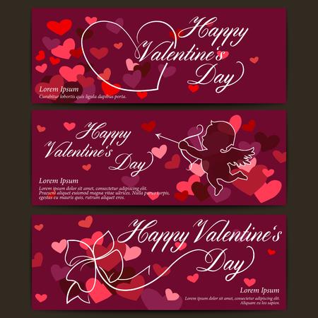 shiny hearts: Happy Valentines day banners. Shiny hearts with ribbon bow. Cupid arrow. Vector background