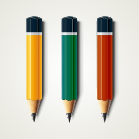 sharpened: Realistic detailed sharpened pencils isolated on white background. Graphic illustration