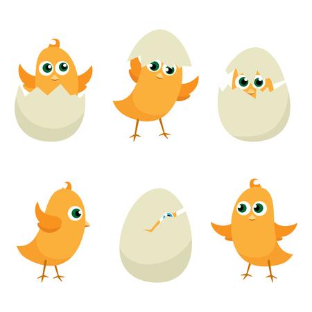 huevo caricatura: Huevos de Pascua polluelos conjunto. Fondo de Pascua del vector EPS 10 Vectores