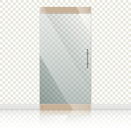 glass doors: Vector transparent glass doors with mirror image in steel frame isolated on white wall. Architectural interior symbol.  EPS 10