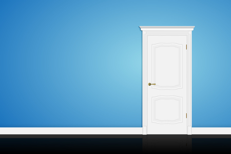 white door: Closed white door on blue wall background. Vector Illustration
