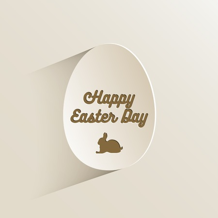 wired: Happy easter lettering in egg on textured paper. Vintage text banner for your design. Hand drawn wired design.