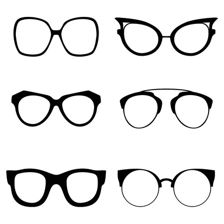 cat's eye glasses: Collection of various glasses. To be worn by women, men and children. Eye glasses set. Illustration