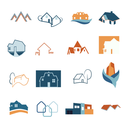 Real Estate web icons set. House logos. Construction logo. Vector
