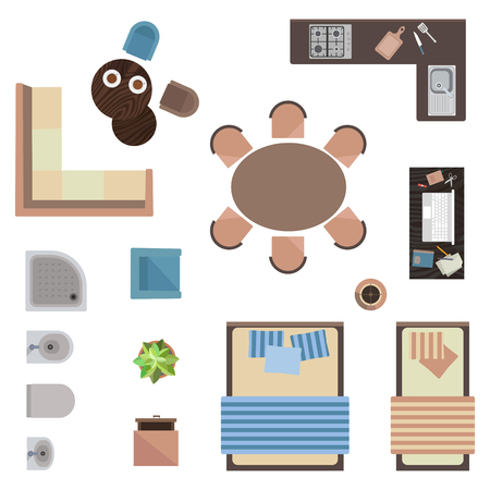 Different interior icons top view isolated on white. Vector illustration