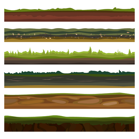sand beach: Seamless different grounds, soils and land set for UI games. Surface green grass. Vector illustration