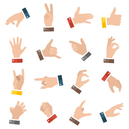 Open empty hands showing different gestures. 16 icons set isolated. Vector hand illustration