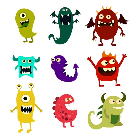 Cartoon monsters set. Colorful toy cute monster. Illustration