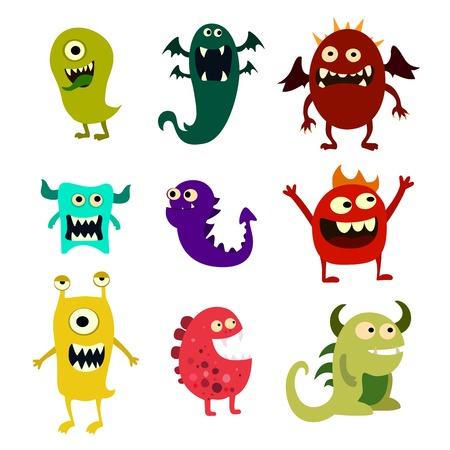 bebe sentado: monstruos de la historieta fijados. juguete colorido monstruo lindo.