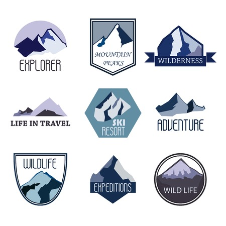 expedition: Set of mountain adventure and expedition logo badges collections. Travel emblems vector