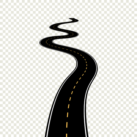 Curved winding road with white markings. Vector illustration eps 10 Vettoriali