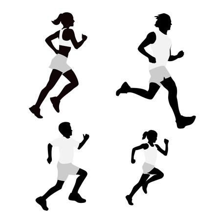 Set family running silhouettes. Vector illustration EPS10. Stock Illustratie
