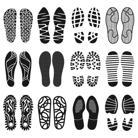 differing: The collection of a shoeprints. Shoes silhouette black and white icons. Imprint of the soles with the differing patterns. Vector eps10