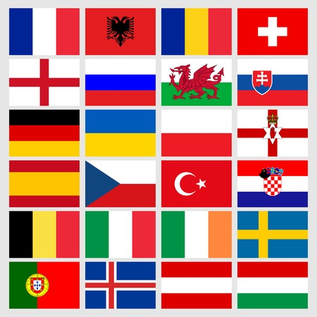 sweden flag: Set of 24 soccer balls icons flags of the participant countries. Football Euro cup 2016. Vector illustration EPS10