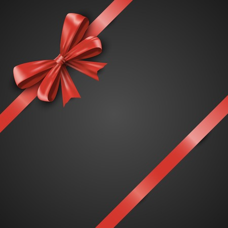 Gift realistic red bow and ribbons tilted on a black background. Beautiful graphic illustration