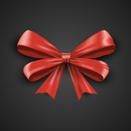 Gift realistic red bow tilted on a black background. Beautiful graphic illustration