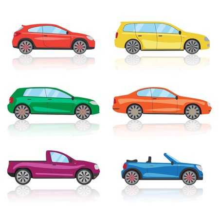 Cars icons set. 6 different colorful 3d sports car icon. Car graphic illustration Stock Photo