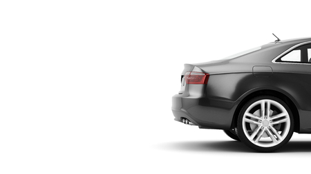 New CG 3d render of generic luxury detail sports car driving illustration isolated on a white background. Mockup with stylized noise effects Banque d'images