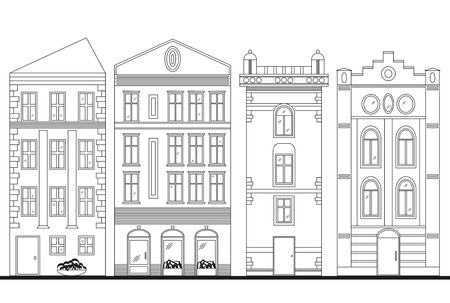 townhouses: Beautiful detailed linear cityscape collection with townhouses. Small town street with victorian building facades. Template for web, graphic, game and motion design. Graphic illustration
