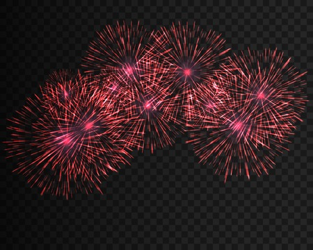 Festive patterned firework bursting in various shapes sparkling pictograms set against black background abstract isolated Graphic illustration 写真素材