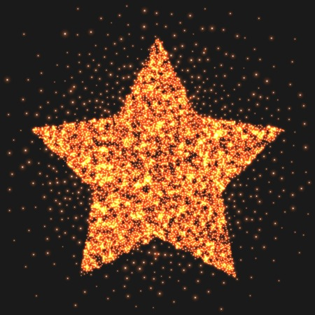 hollywood christmas: Gold star logo sparkling effect. Star burst of light. Graphic illustration Stock Photo