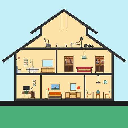 inside house: Detailed house in cut. Different modern furniture in interiors. Flat style. Graphic illustration
