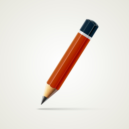 Realistic detailed sharpened red pencil isolated on white background. Graphic illustration