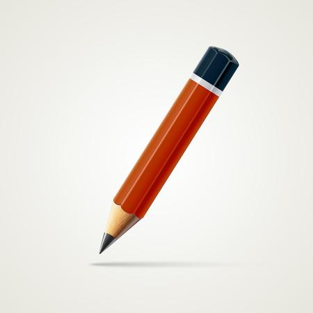 Realistisch gedetailleerd gescherpt rood potlood dat op witte achtergrond wordt geïsoleerd. Grafische afbeelding Stockfoto