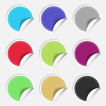 Colorful nine blank stickers set. Badge collection in red, blue, green, grey, black, yellow, orange and violet colors. Graphic illustration  Stock Photo