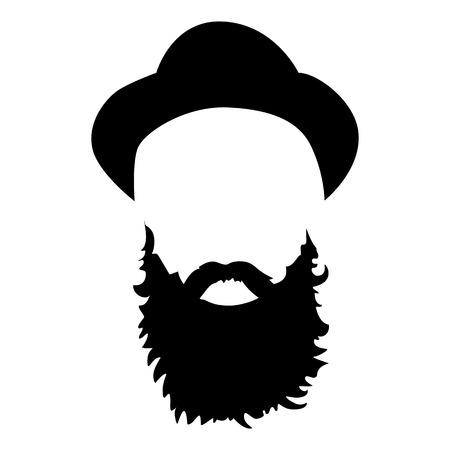 流行に敏感な詳細な帽子とひげ。ファッションのひげを生やした男のシルエット。黒ひげは、白い背景で隔離。ベクトル図