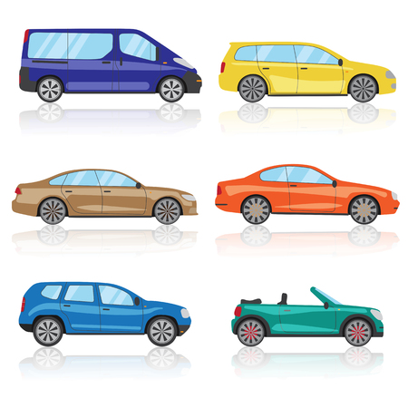 Collection cars icons set. 6 different colorful 3d sports car icon. Car vector EPS 10