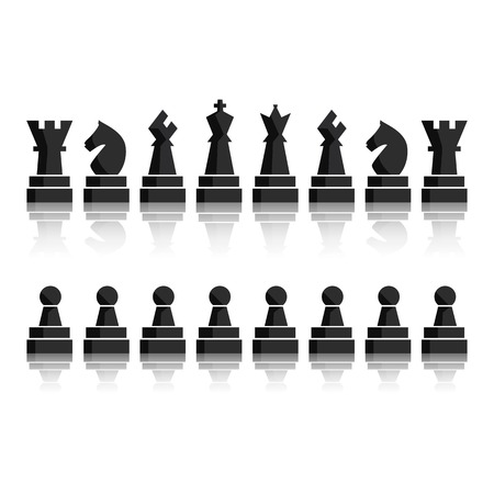Black chess icons set. Chess board figures. Illustration chess pieces. Nine different objects including king, queen, bishop, knight, rook, pawn. Vector EPS10