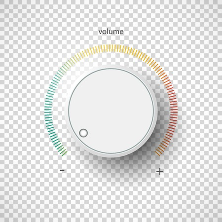volume knob: Realistic metal control panel tumbler. Music audio sound volume knob button minimum maximum level. Rotate switch interface stereo tuner. Design element Vector illustration eps10