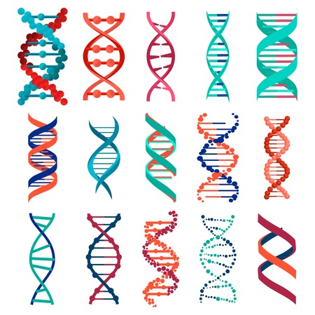 dna icon: DNA molecule sign set, genetic elements and icons collection strand. Vector eps10 Illustration