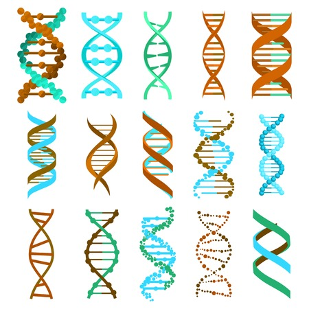 DNA molecule sign set, genetic elements and icons collection strand. Vector eps10 Illustration