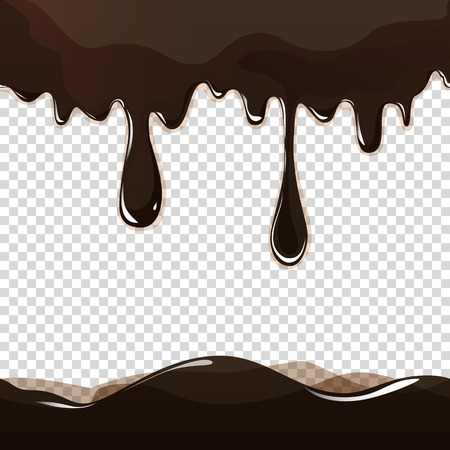 Seamless flowing melted chocolate dripping isolated on transparent background. Vector EPS10 Illustration