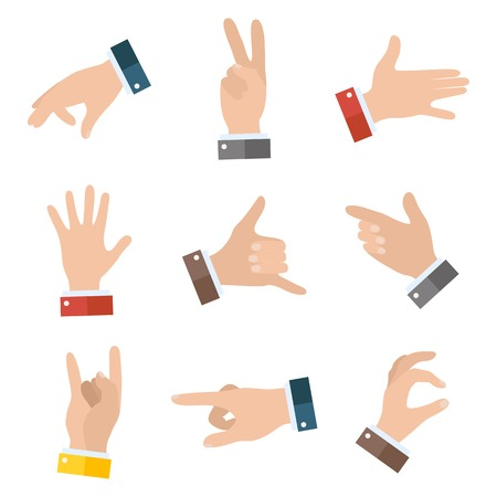 Collection empty hands showing different gestures. 9 icons set isolated on white background. Vector hand illustration EPS 10