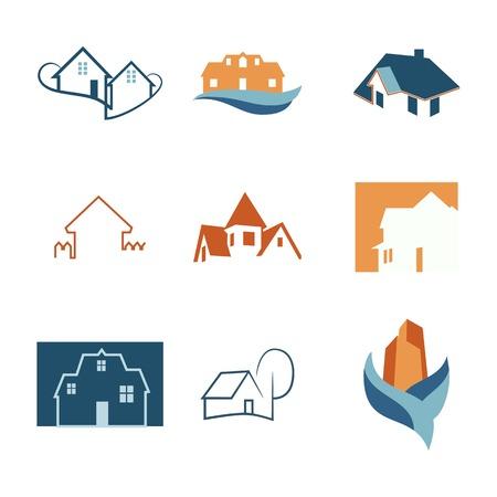 immobiliare icone web set. loghi House. Costruzione logo. Vettore