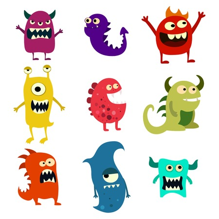 Doodle set di mostri. Mostro alieno carino giocattolo colorato. Vettore ENV 10