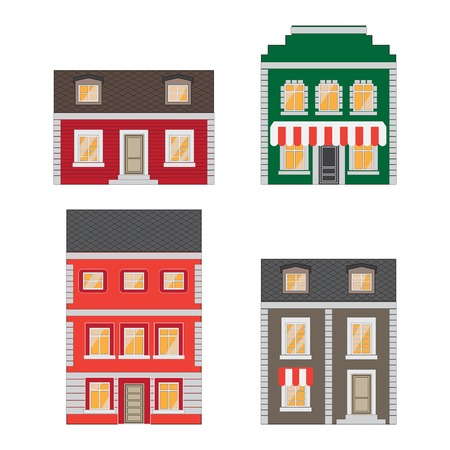 townhouses: Beautiful detailed cartoon cityscape collection with townhouses. Small town street with victorian building facades. Template for web, graphic, game and motion design. Vector illustration EPS10